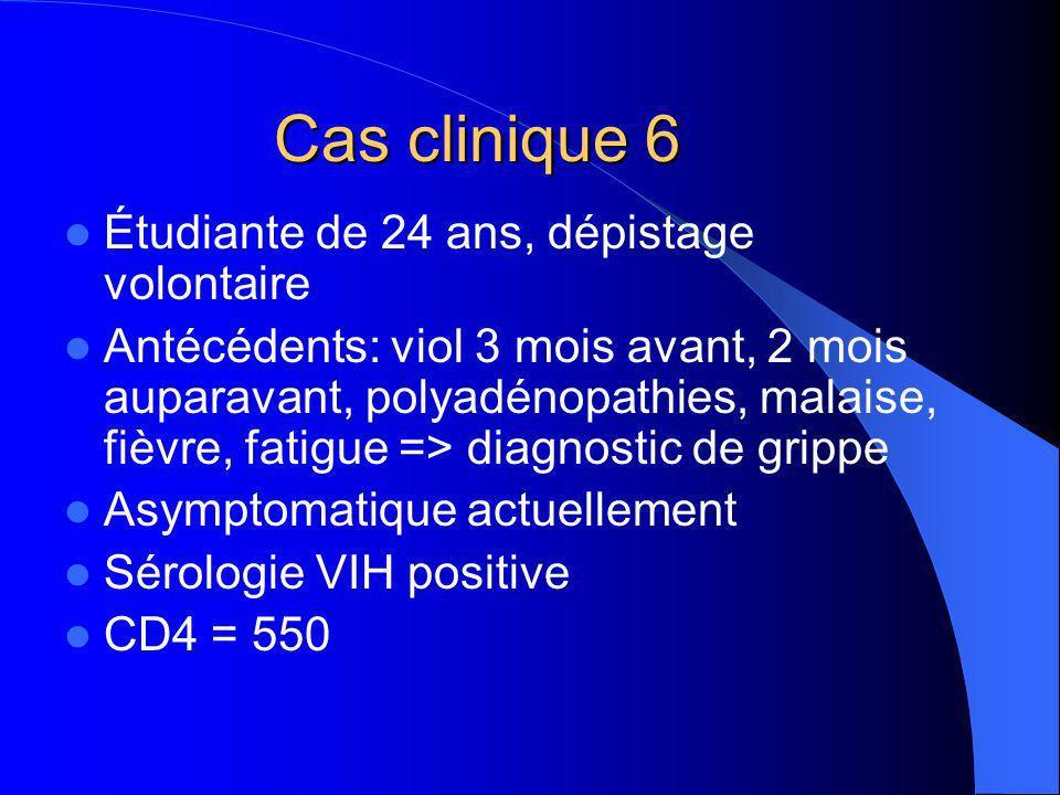 Cas clinique 6 Étudiante de 24 ans, dépistage volontaire Antécédents: viol 3 mois avant, 2 mois auparavant, polyadénopathies, malaise, fièvre, fatigue => diagnostic de grippe Asymptomatique actuellement Sérologie VIH positive CD4 = 550