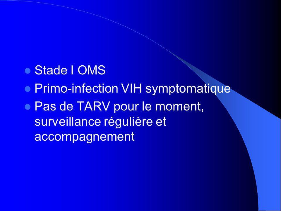 Stade I OMS Primo-infection VIH symptomatique Pas de TARV pour le moment, surveillance régulière et accompagnement