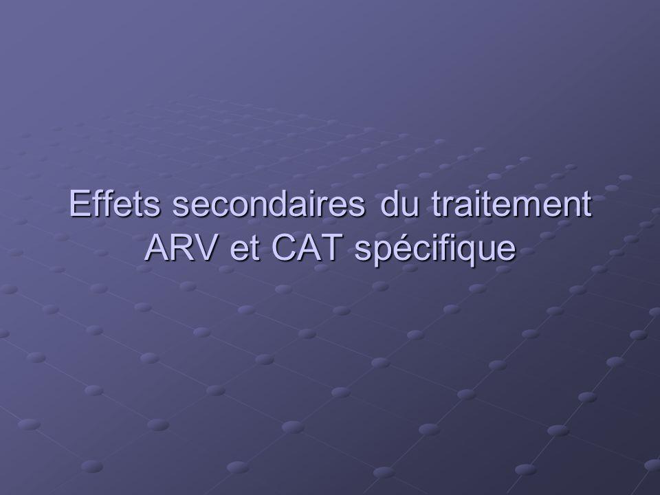 Effets secondaires du traitement ARV et CAT spécifique