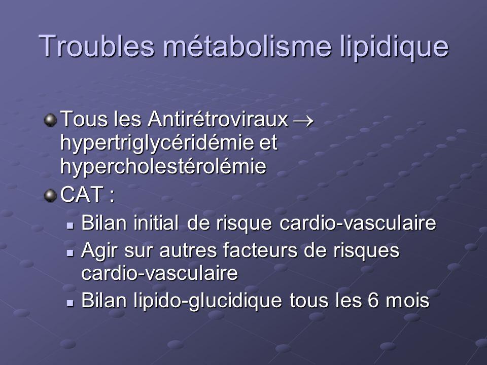 Troubles métabolisme lipidique Tous les Antirétroviraux hypertriglycéridémie et hypercholestérolémie CAT : Bilan initial de risque cardio-vasculaire B