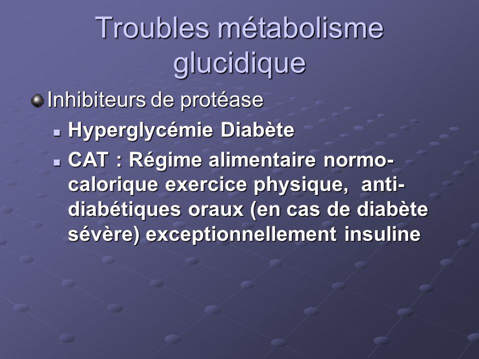 Troubles métabolisme glucidique Inhibiteurs de protéase Hyperglycémie Diabète Hyperglycémie Diabète CAT : Régime alimentaire normo- calorique exercice