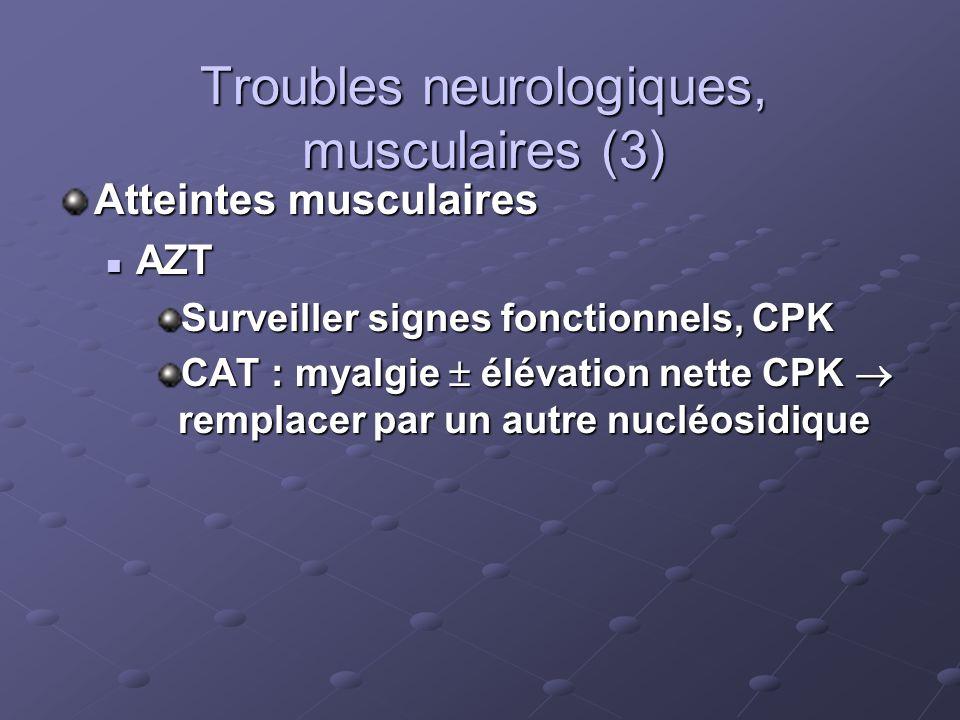 Troubles neurologiques, musculaires (3) Atteintes musculaires AZT AZT Surveiller signes fonctionnels, CPK CAT : myalgie élévation nette CPK remplacer