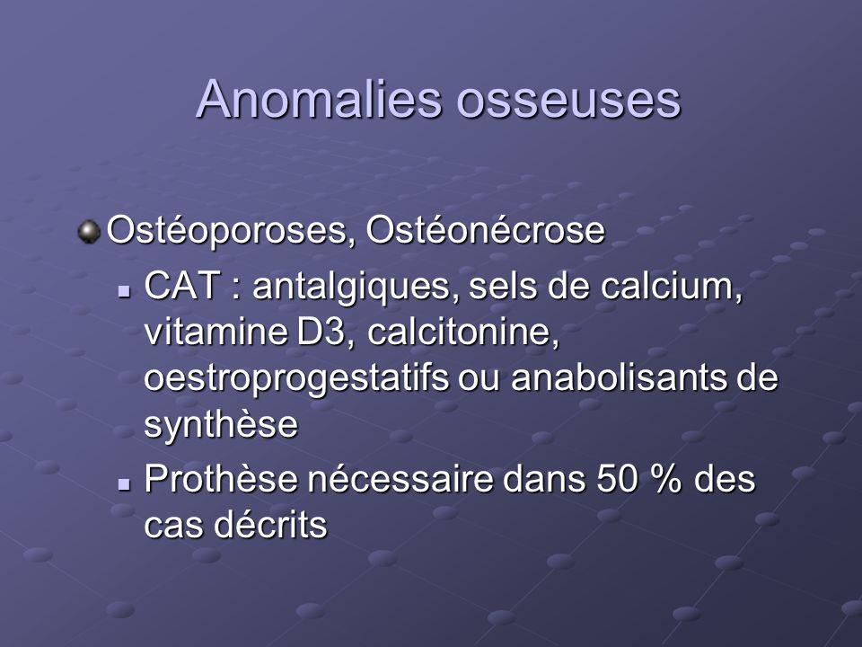Anomalies osseuses Ostéoporoses, Ostéonécrose CAT : antalgiques, sels de calcium, vitamine D3, calcitonine, oestroprogestatifs ou anabolisants de synt