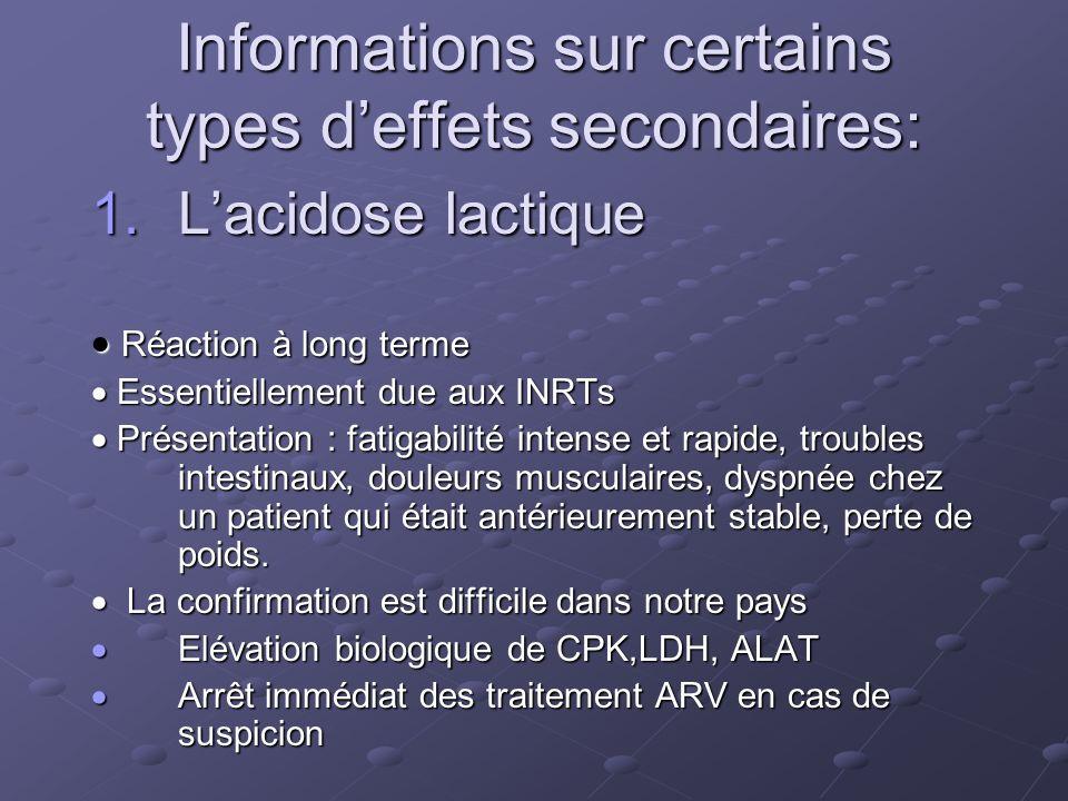 Informations sur certains types deffets secondaires: 1.Lacidose lactique Réaction à long terme Réaction à long terme Essentiellement due aux INRTs Ess