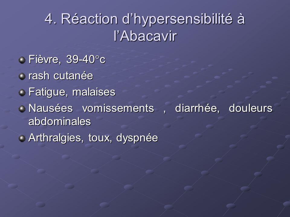 4. Réaction dhypersensibilité à lAbacavir Fièvre, 39-40°c rash cutanée Fatigue, malaises Nausées vomissements, diarrhée, douleurs abdominales Arthralg