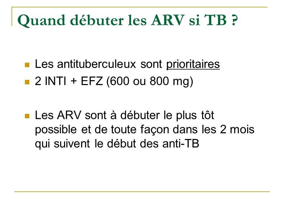 Quand débuter les ARV si TB ? Les antituberculeux sont prioritaires 2 INTI + EFZ (600 ou 800 mg) Les ARV sont à débuter le plus tôt possible et de tou