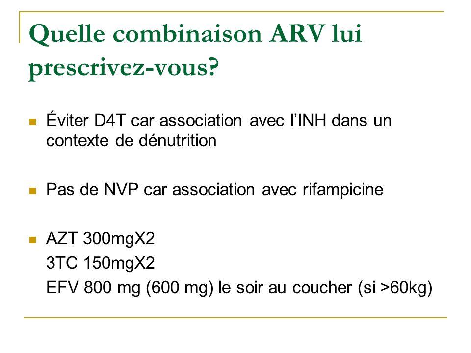 Quelle combinaison ARV lui prescrivez-vous? Éviter D4T car association avec lINH dans un contexte de dénutrition Pas de NVP car association avec rifam