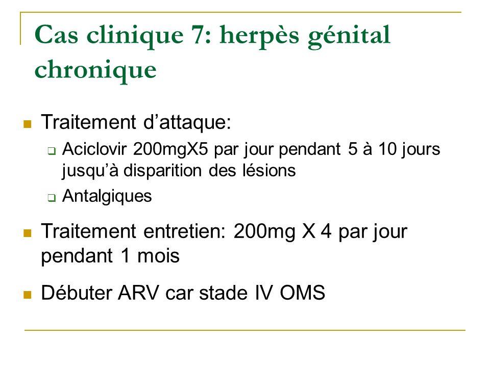 Traitement dattaque: Aciclovir 200mgX5 par jour pendant 5 à 10 jours jusquà disparition des lésions Antalgiques Traitement entretien: 200mg X 4 par jo
