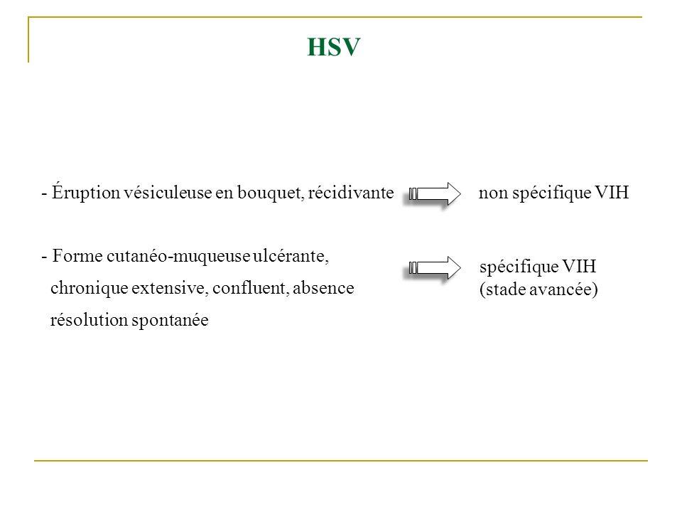 HSV - Éruption vésiculeuse en bouquet, récidivante - Forme cutanéo-muqueuse ulcérante, chronique extensive, confluent, absence résolution spontanée no