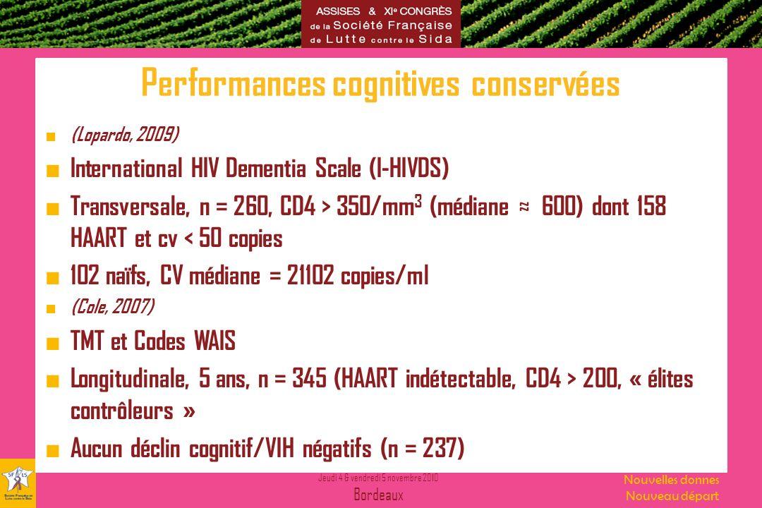 Jeudi 4 & vendredi 5 novembre 2010 Bordeaux Nouvelles donnes Nouveau départ Performances cognitives conservées (Lopardo, 2009) International HIV Demen