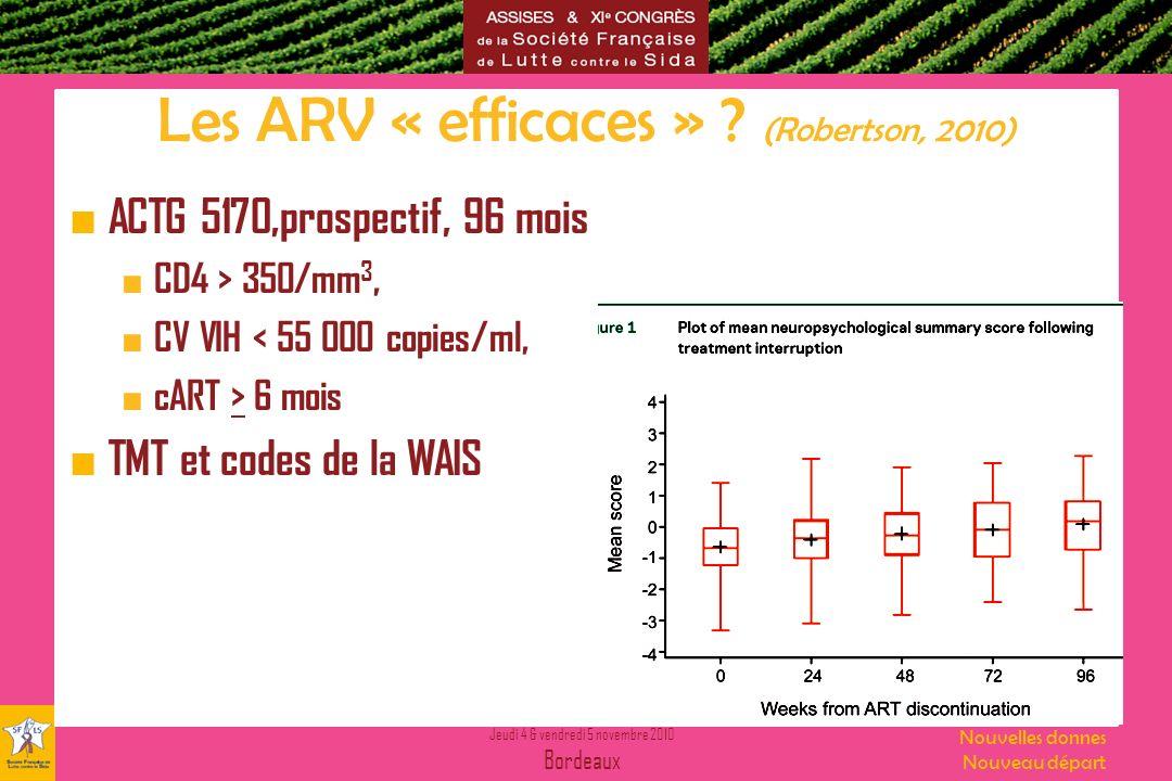 Jeudi 4 & vendredi 5 novembre 2010 Bordeaux Nouvelles donnes Nouveau départ Les ARV « efficaces » ? (Robertson, 2010) ACTG 5170,prospectif, 96 mois CD