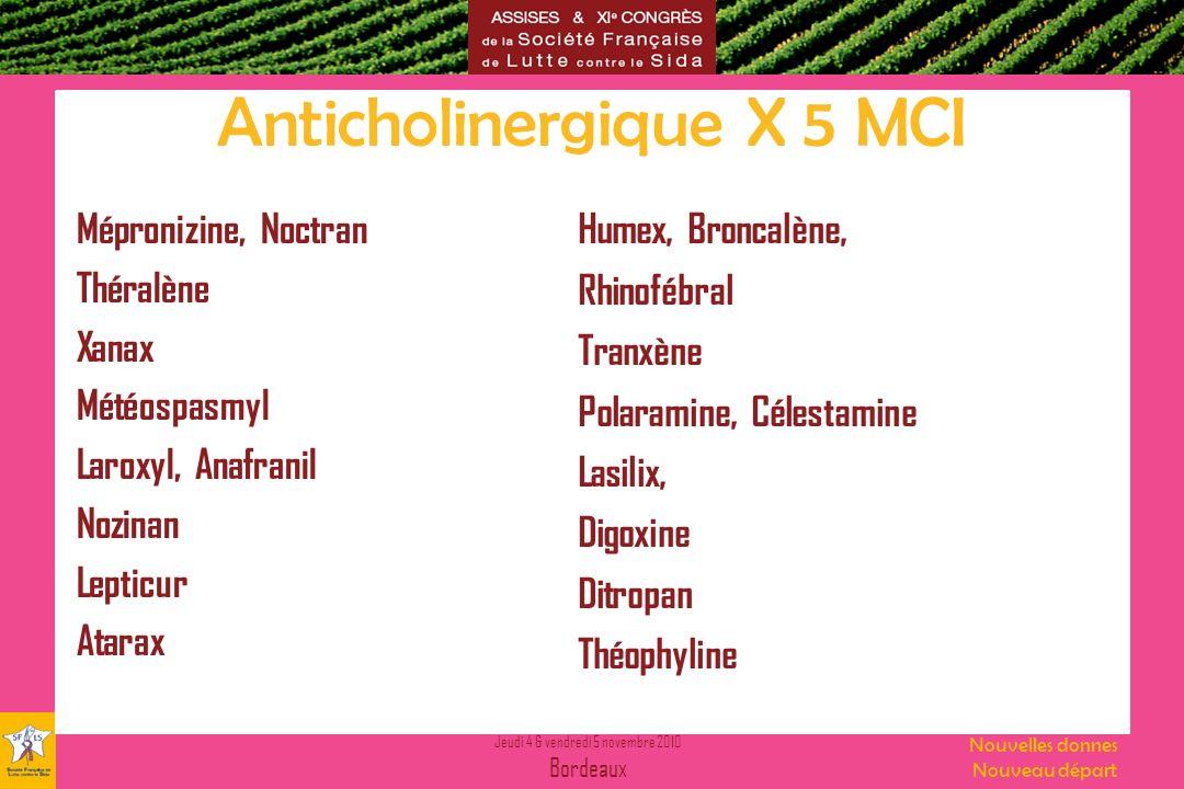 Jeudi 4 & vendredi 5 novembre 2010 Bordeaux Nouvelles donnes Nouveau départ Anticholinergique X 5 MCI Mépronizine, Noctran Théralène Xanax Météospasmy