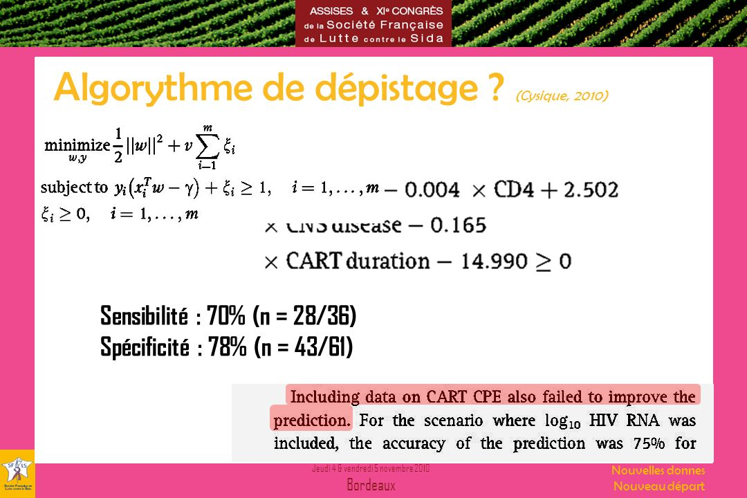 Jeudi 4 & vendredi 5 novembre 2010 Bordeaux Nouvelles donnes Nouveau départ Algorythme de dépistage ? (Cysique, 2010) Sensibilité : 70% (n = 28/36) Sp