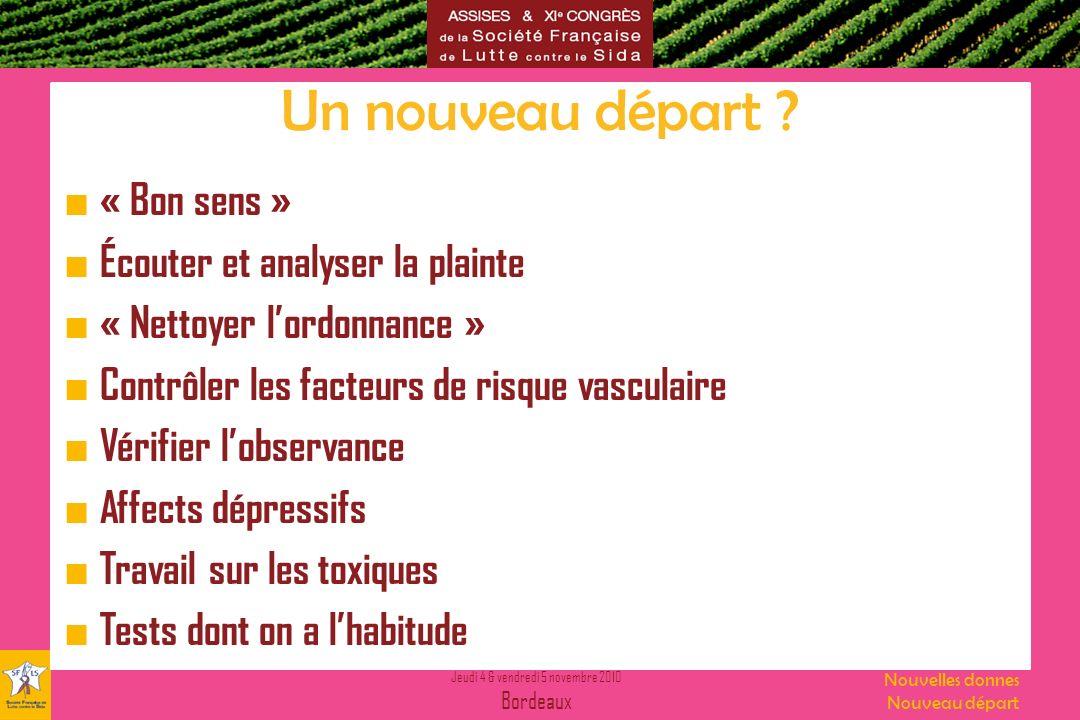 Jeudi 4 & vendredi 5 novembre 2010 Bordeaux Nouvelles donnes Nouveau départ Un nouveau départ ? « Bon sens » Écouter et analyser la plainte « Nettoyer
