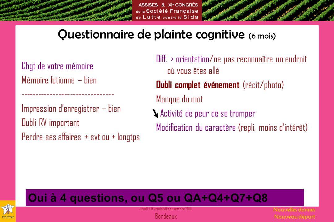 Jeudi 4 & vendredi 5 novembre 2010 Bordeaux Nouvelles donnes Nouveau départ Questionnaire de plainte cognitive (6 mois) Chgt de votre mémoire Mémoire
