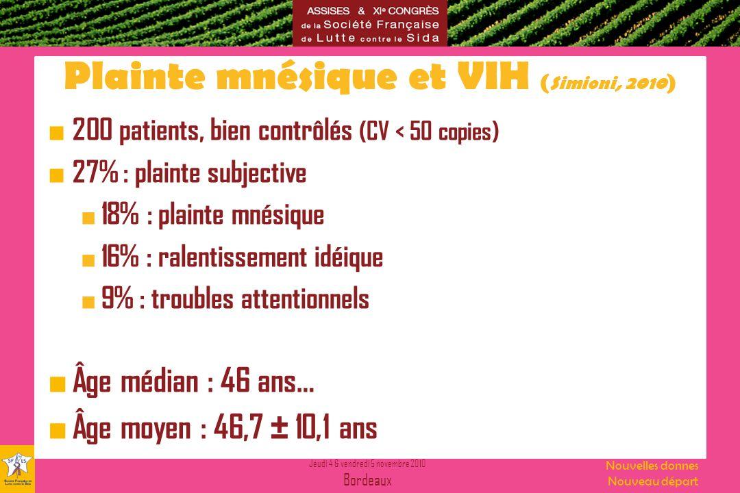 Jeudi 4 & vendredi 5 novembre 2010 Bordeaux Nouvelles donnes Nouveau départ Plainte mnésique et VIH ( Simioni, 2010 ) 200 patients, bien contrôlés (CV