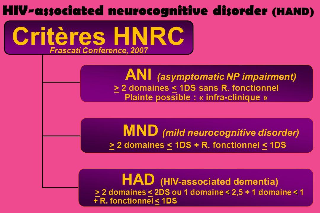 Critères HNRC Frascati Conference, 2007 ANI (asymptomatic NP impairment) > 2 domaines < 1DS sans R. fonctionnel Plainte possible : « infra-clinique »
