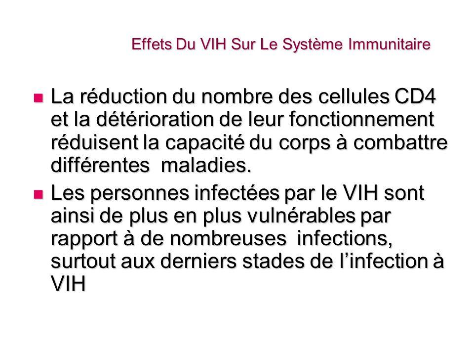Effets Du VIH Sur Le Système Immunitaire La réduction du nombre des cellules CD4 et la détérioration de leur fonctionnement réduisent la capacité du c