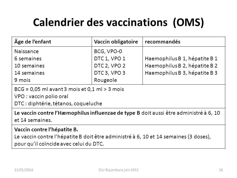 Calendrier des vaccinations (OMS) Äge de lenfantVaccin obligatoirerecommandés Naissance 6 semaines 10 semaines 14 semaines 9 mois BCG, VPO-0 DTC 1, VP