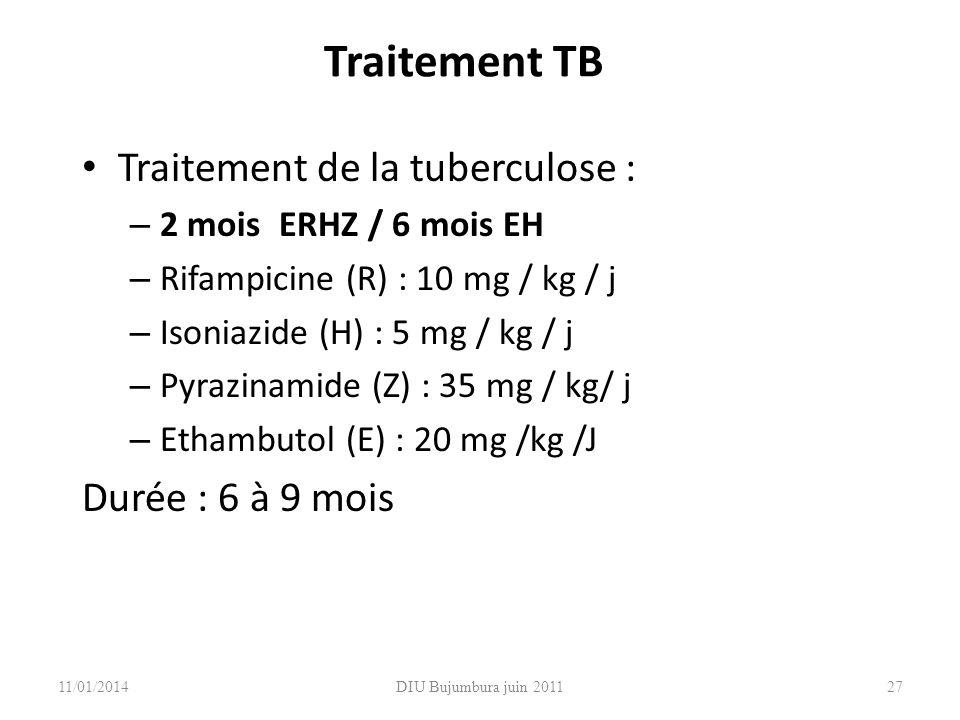 Traitement TB Traitement de la tuberculose : – 2 mois ERHZ / 6 mois EH – Rifampicine (R) : 10 mg / kg / j – Isoniazide (H) : 5 mg / kg / j – Pyrazinam