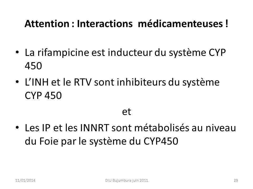 Attention : Interactions médicamenteuses ! La rifampicine est inducteur du système CYP 450 LINH et le RTV sont inhibiteurs du système CYP 450 et Les I