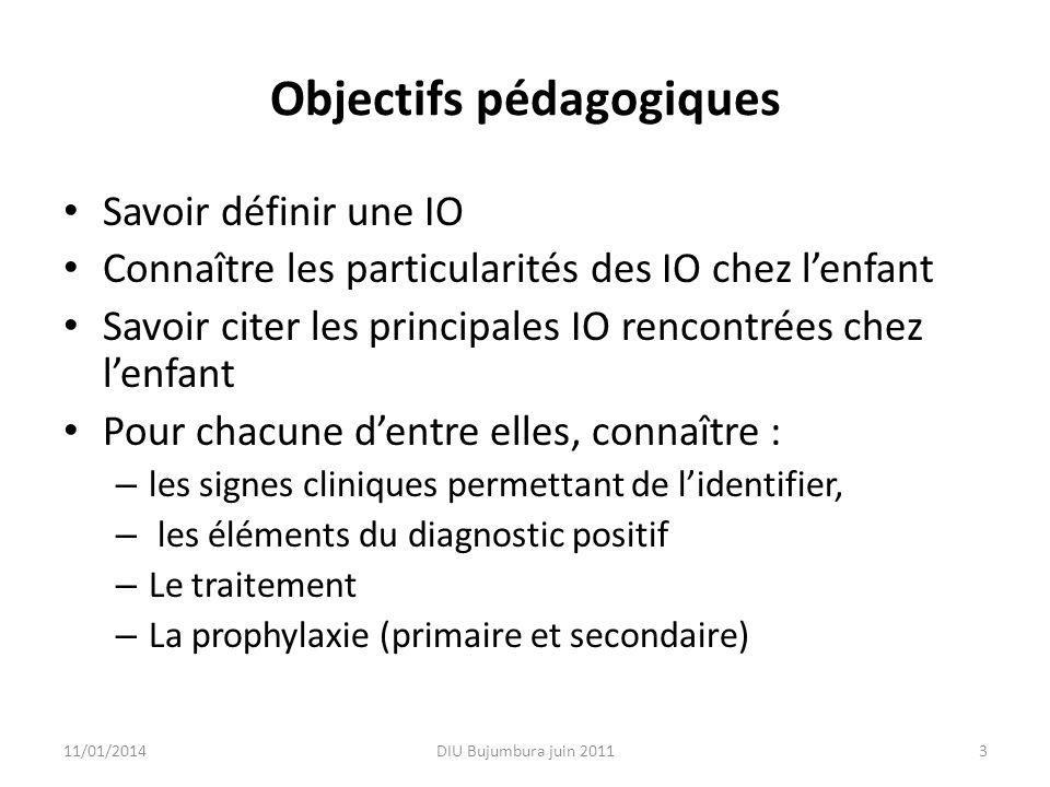 Objectifs pédagogiques Savoir définir une IO Connaître les particularités des IO chez lenfant Savoir citer les principales IO rencontrées chez lenfant