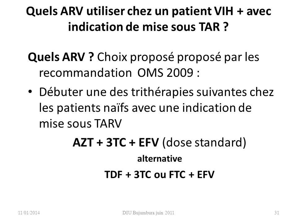 Quels ARV utiliser chez un patient VIH + avec indication de mise sous TAR ? Quels ARV ? Choix proposé proposé par les recommandation OMS 2009 : Débute