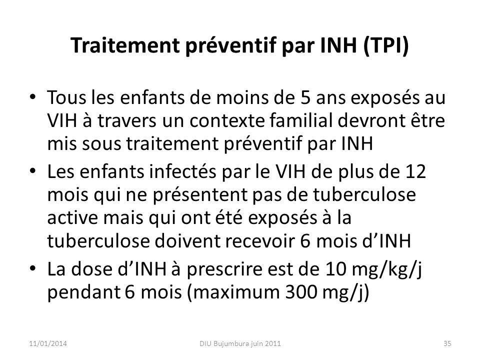 Traitement préventif par INH (TPI) Tous les enfants de moins de 5 ans exposés au VIH à travers un contexte familial devront être mis sous traitement p
