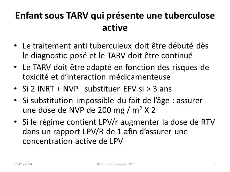 Enfant sous TARV qui présente une tuberculose active Le traitement anti tuberculeux doit être débuté dès le diagnostic posé et le TARV doit être conti