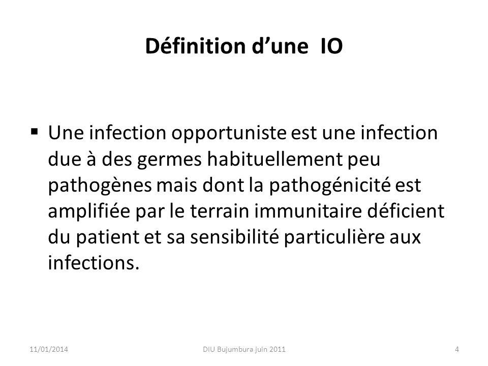 Définition dune IO Une infection opportuniste est une infection due à des germes habituellement peu pathogènes mais dont la pathogénicité est amplifié