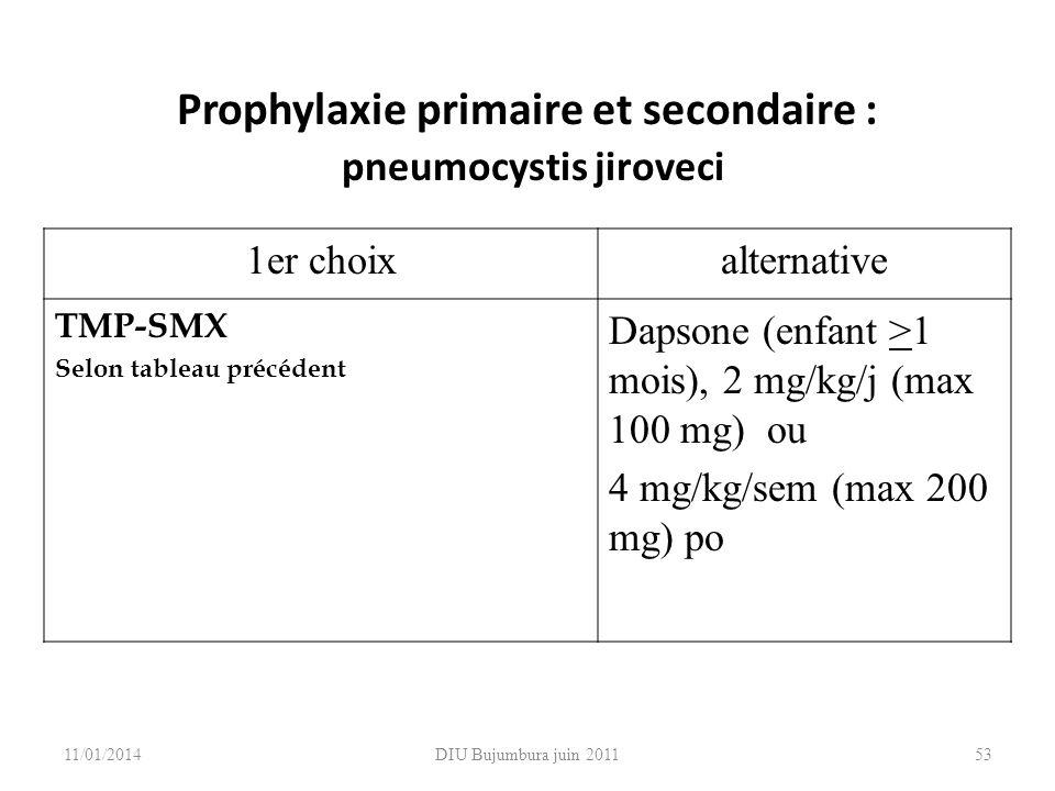 DIU Bujumbura juin 2011 Prophylaxie primaire et secondaire : pneumocystis jiroveci 1er choixalternative TMP-SMX Selon tableau précédent Dapsone (enfan
