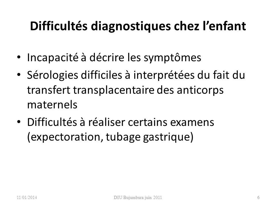 DIU Bujumbura juin 2011 Difficultés diagnostiques chez lenfant Incapacité à décrire les symptômes Sérologies difficiles à interprétées du fait du tran