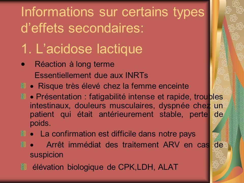 Informations sur certains types deffets secondaires: 1. Lacidose lactique Réaction à long terme Essentiellement due aux INRTs Risque très élevé chez l