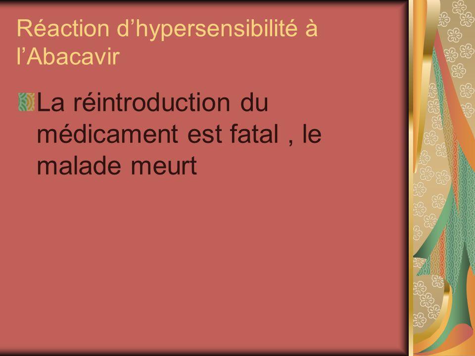 Réaction dhypersensibilité à lAbacavir La réintroduction du médicament est fatal, le malade meurt