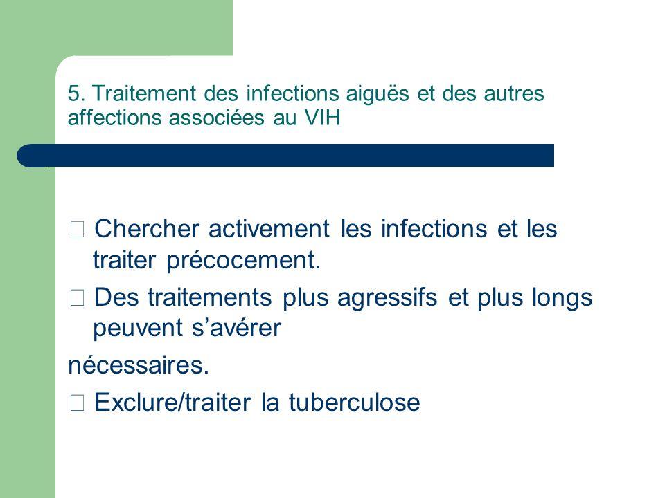 5. Traitement des infections aiguës et des autres affections associées au VIH Chercher activement les infections et les traiter précocement. Des trait