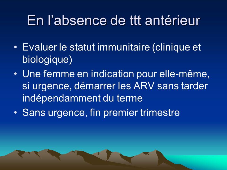 En labsence de ttt antérieur Evaluer le statut immunitaire (clinique et biologique) Une femme en indication pour elle-même, si urgence, démarrer les A