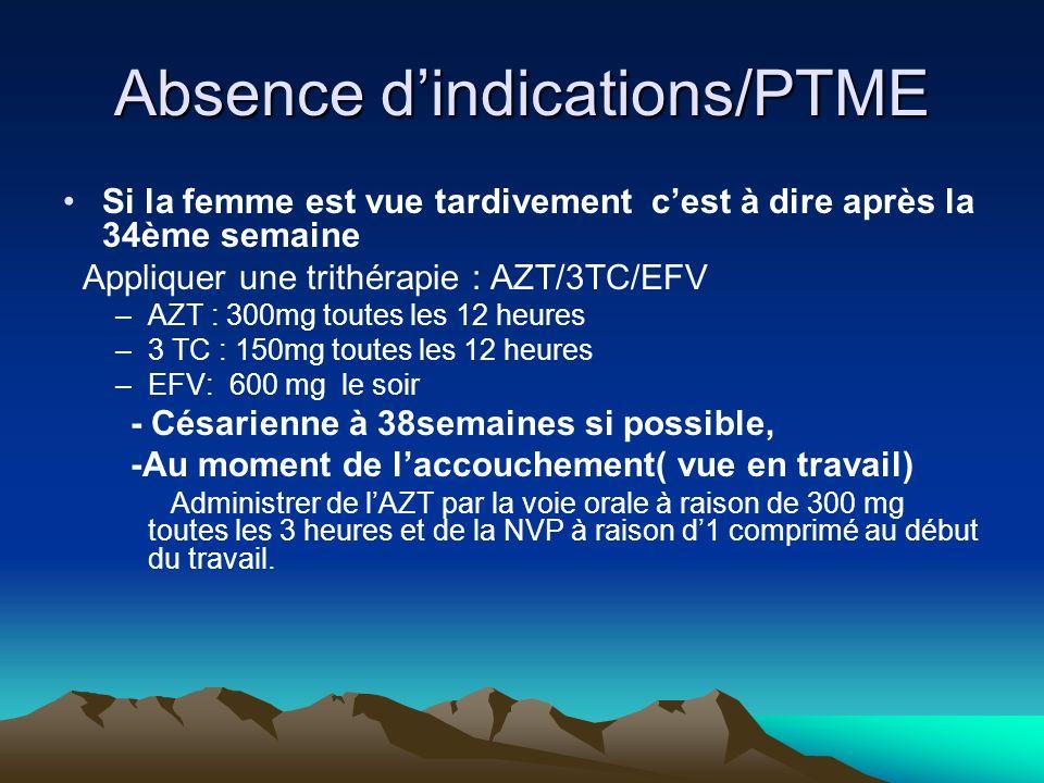 Absence dindications/PTME Si la femme est vue tardivement cest à dire après la 34ème semaine Appliquer une trithérapie : AZT/3TC/EFV –AZT : 300mg tout