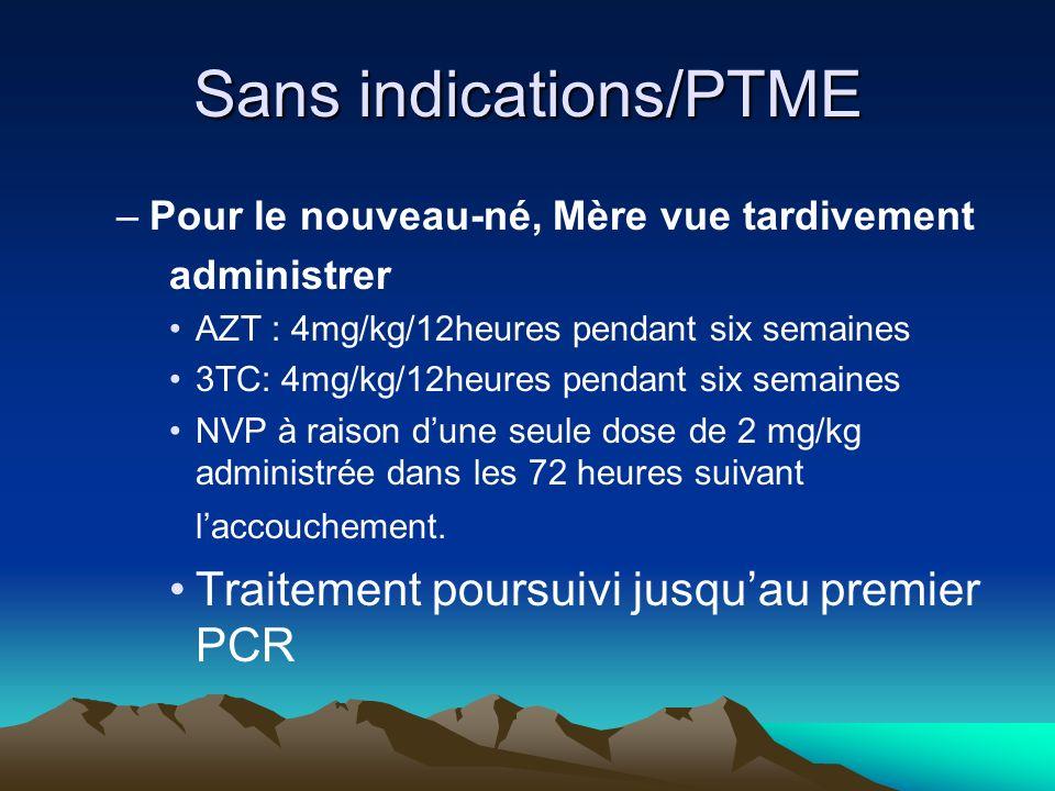 Sans indications/PTME –Pour le nouveau-né, Mère vue tardivement administrer AZT : 4mg/kg/12heures pendant six semaines 3TC: 4mg/kg/12heures pendant si