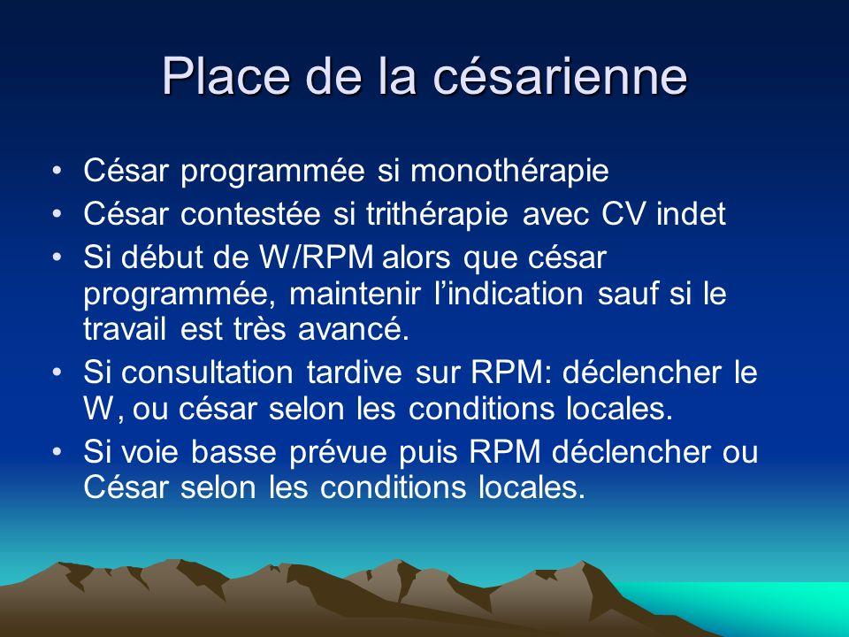 Place de la césarienne César programmée si monothérapie César contestée si trithérapie avec CV indet Si début de W/RPM alors que césar programmée, mai