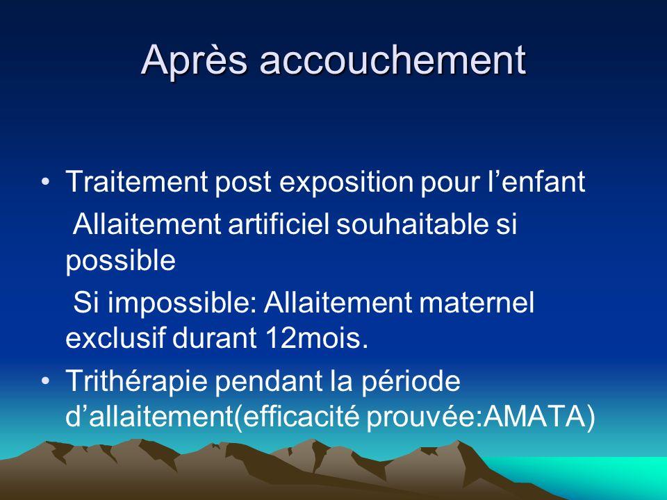 Après accouchement Traitement post exposition pour lenfant Allaitement artificiel souhaitable si possible Si impossible: Allaitement maternel exclusif