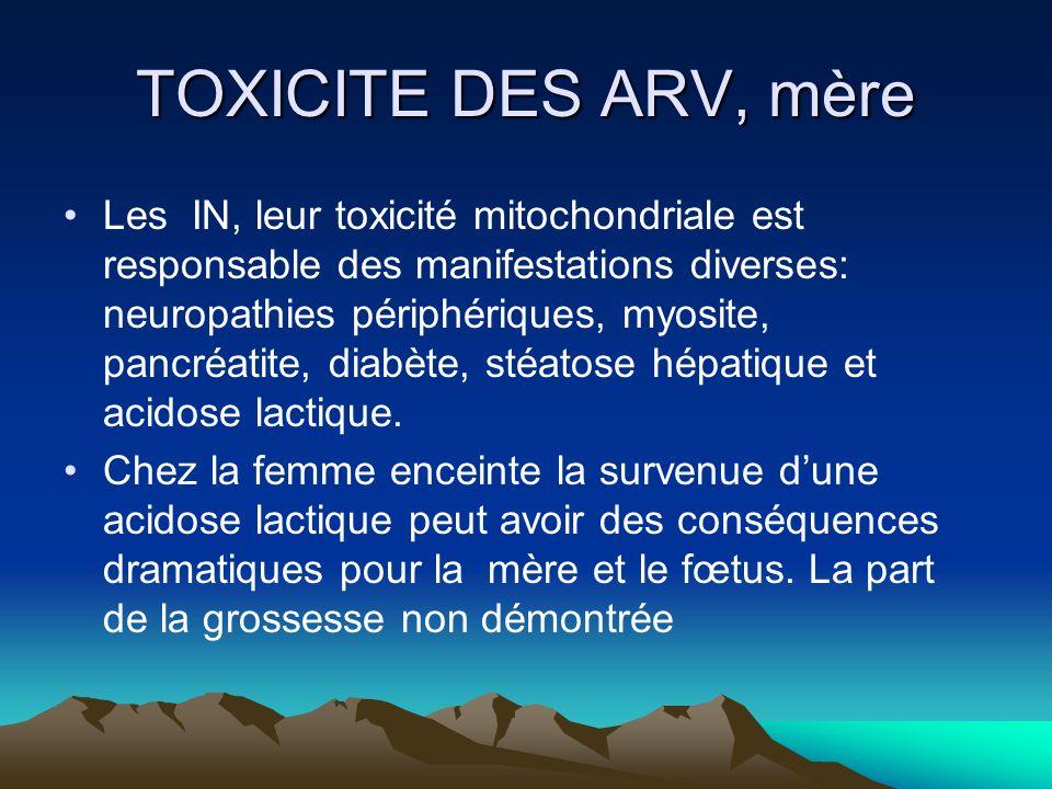 TOXICITE DES ARV, mère Les IN, leur toxicité mitochondriale est responsable des manifestations diverses: neuropathies périphériques, myosite, pancréat