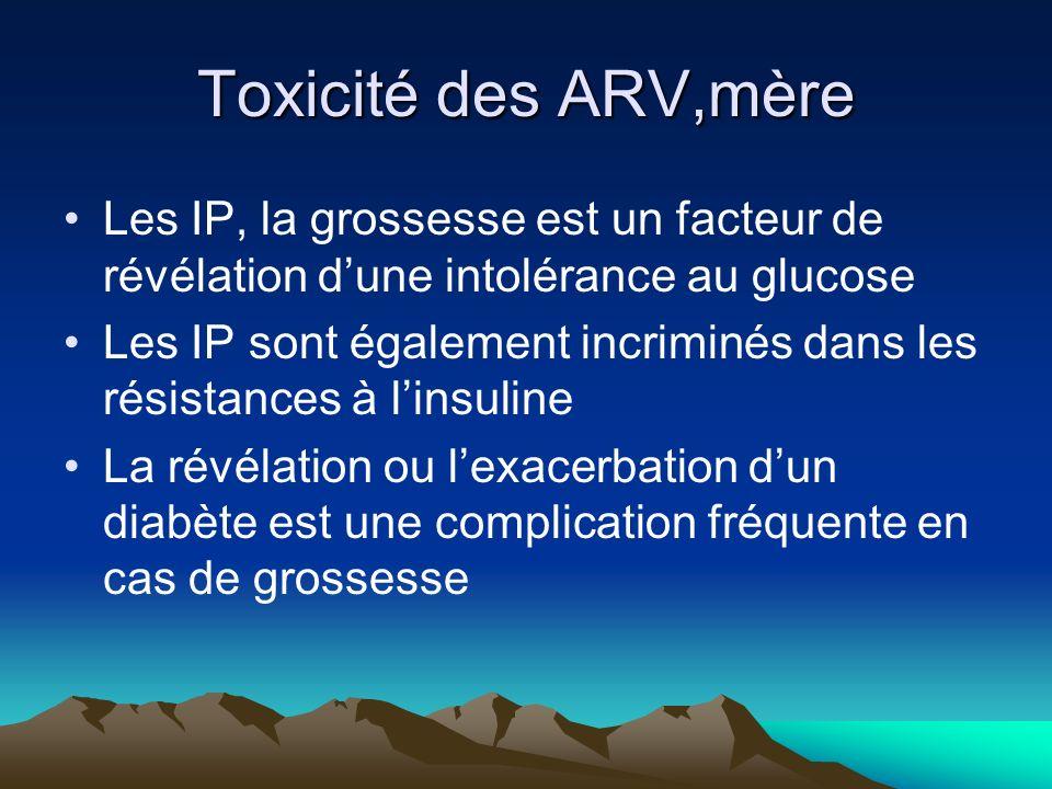 Toxicité des ARV,mère Les IP, la grossesse est un facteur de révélation dune intolérance au glucose Les IP sont également incriminés dans les résistan
