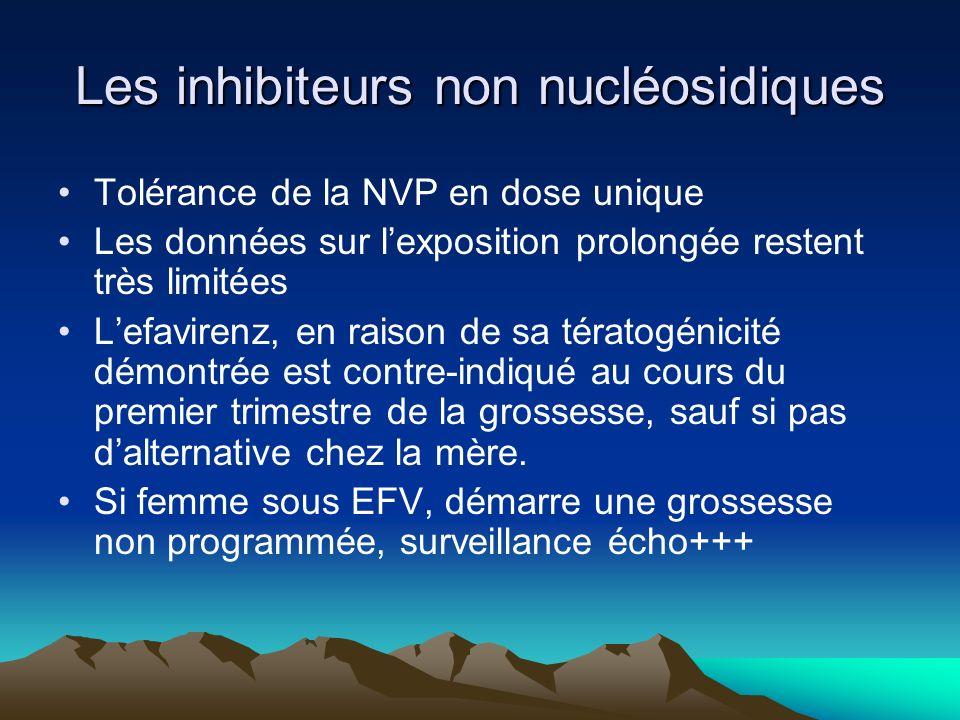 Les inhibiteurs non nucléosidiques Tolérance de la NVP en dose unique Les données sur lexposition prolongée restent très limitées Lefavirenz, en raiso