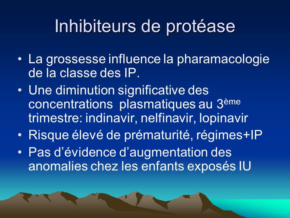 Inhibiteurs de protéase La grossesse influence la pharamacologie de la classe des IP. Une diminution significative des concentrations plasmatiques au