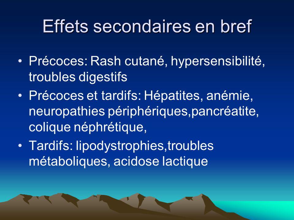 Effets secondaires en bref Précoces: Rash cutané, hypersensibilité, troubles digestifs Précoces et tardifs: Hépatites, anémie, neuropathies périphériq