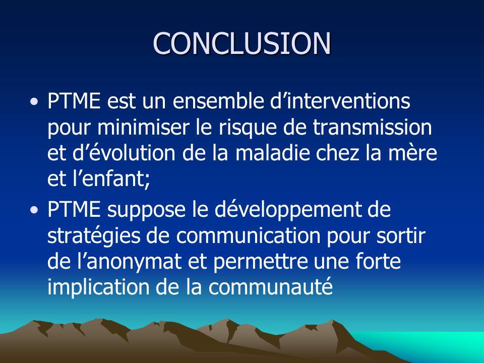 CONCLUSION PTME est un ensemble dinterventions pour minimiser le risque de transmission et dévolution de la maladie chez la mère et lenfant; PTME supp