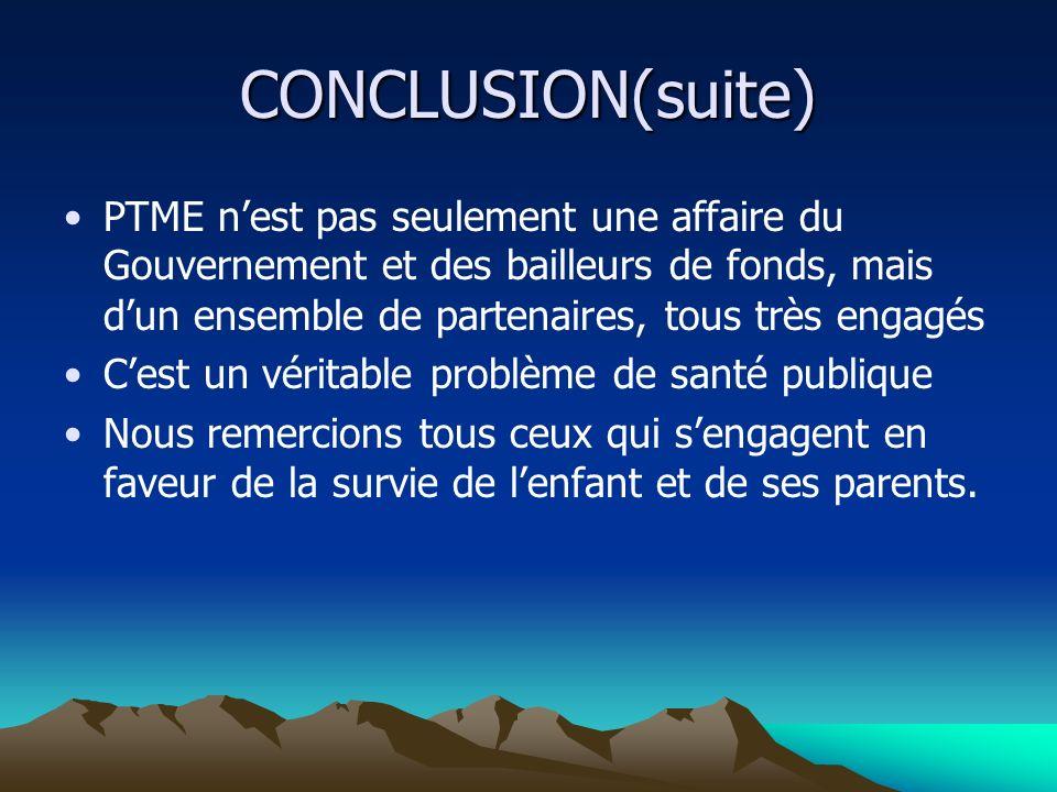 CONCLUSION(suite) PTME nest pas seulement une affaire du Gouvernement et des bailleurs de fonds, mais dun ensemble de partenaires, tous très engagés C