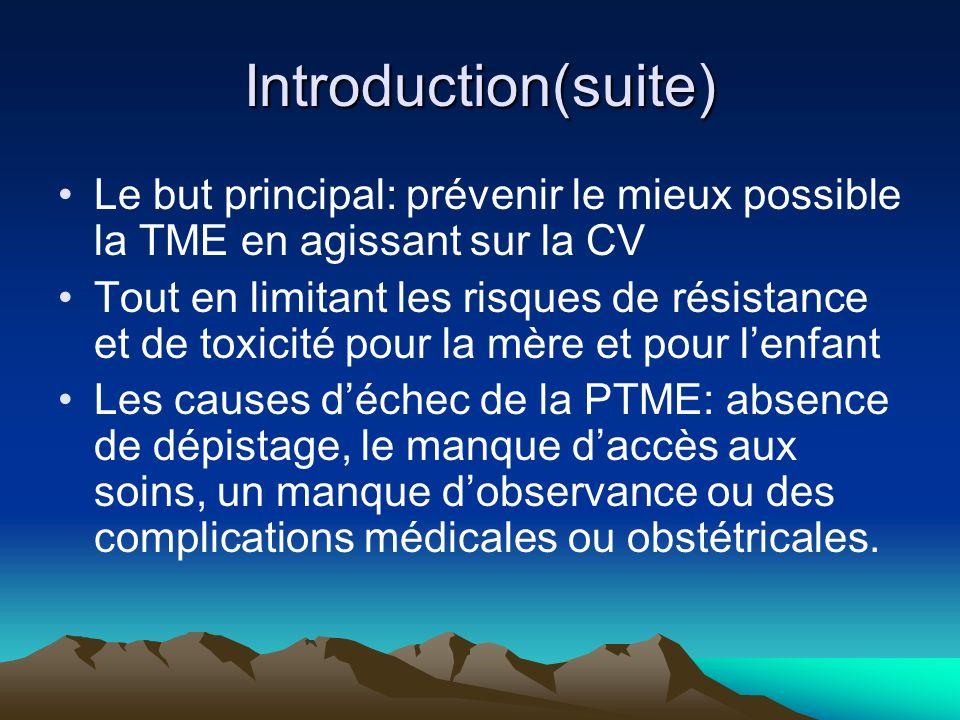 Introduction(suite) Le but principal: prévenir le mieux possible la TME en agissant sur la CV Tout en limitant les risques de résistance et de toxicit