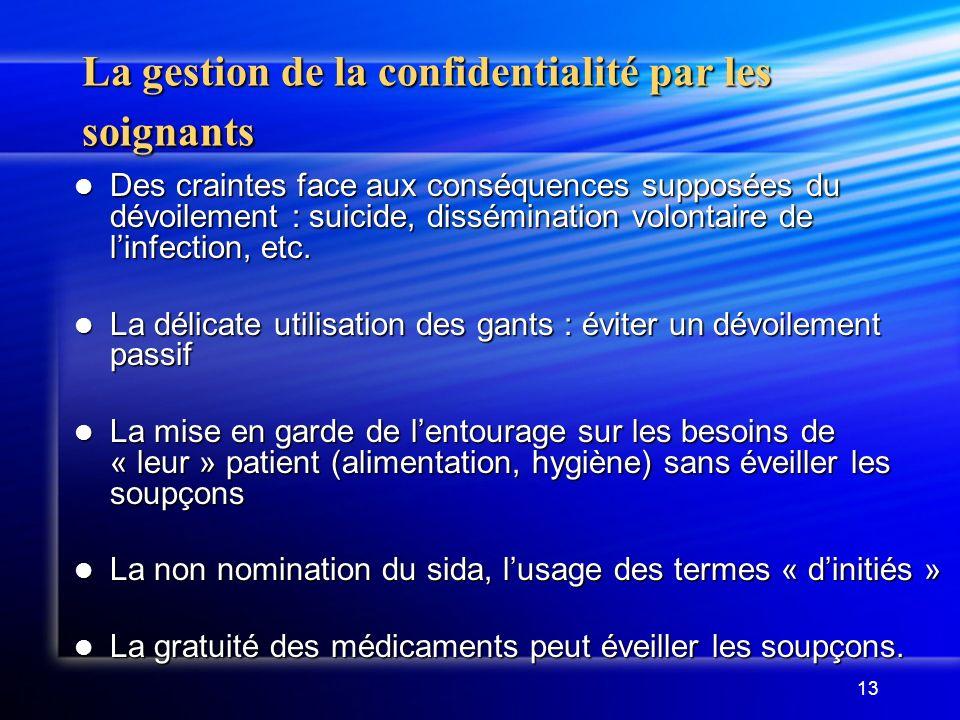 13 La gestion de la confidentialité par les soignants Des craintes face aux conséquences supposées du dévoilement : suicide, dissémination volontaire