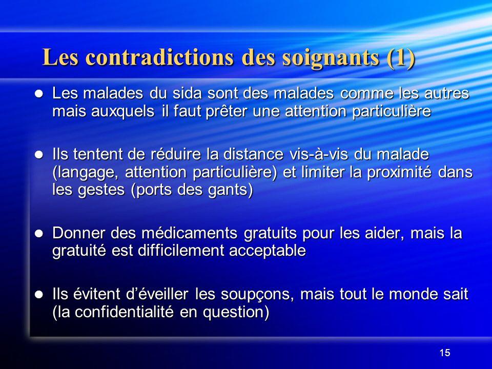 15 Les contradictions des soignants (1) Les malades du sida sont des malades comme les autres mais auxquels il faut prêter une attention particulière